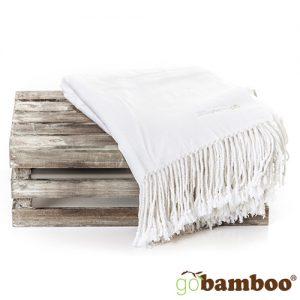 Stort Silkemykt og Varmt Bambuspledd (Hvit)