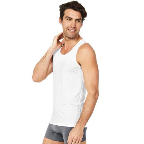 White Sleeveless Tank Top for Men
