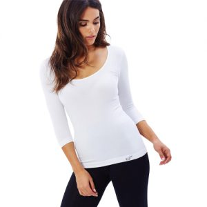 Scoop Neck Top White Front