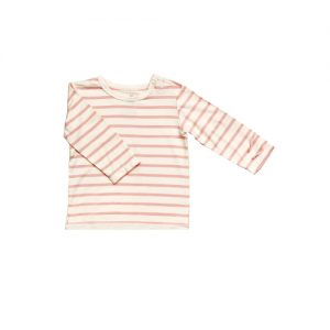 Long Sleeve Stripe Pink Baby Genser