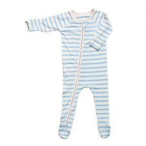 Blue Stripe Baby Long Sleeve Onesie