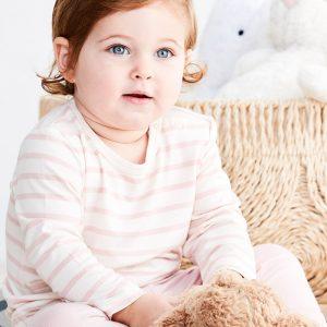 Pink Stripe Baby Genser Striper