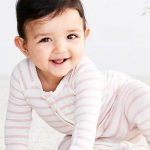Pink Stripe Baby-langermet onesie
