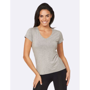 Women's V Neck T Shirt Bambus t skjorte for damer